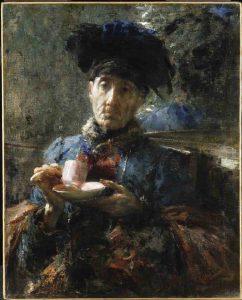 Antonio Mancini, vecchia donna bevendo the, 1907; dipinto ad olio, 73.7x59.7 cm