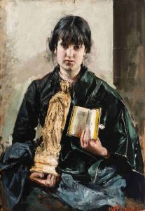 Antonio Mancini, Ragazza con libro e statuetta della Vergine, 1878, Olio su tavola