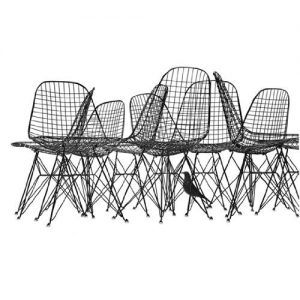 Charles e Ray Eames - Wire Chairs & Bird Print