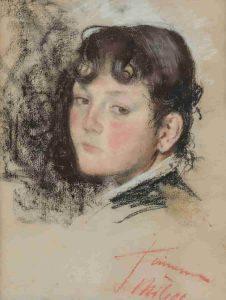Ettore Ximenes, ritratto di bambino, Pastello su carta