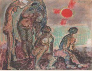 Fausto Pirandello, Bagnanti con sole rosso