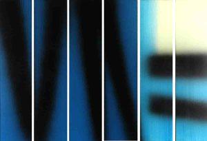 Hans Hartung, T1983 E14 E15 E16 E17 E18 E19 HEXAPTYQUE, 1983, acrilico su tela, 150 x 210 cm