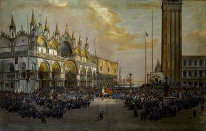 Luigi Querena, Il Popolo di Venezia solleva il Tricolore in Piazza San Marco, 1850