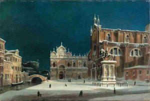 Luigi-Querena, Visione notturna di Campo dei Santi Giovanni e Paolo di Venezia, 1850