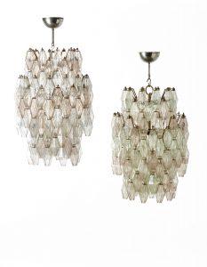 Coppia di lampadari a poliedri in vetro Venini 1958.