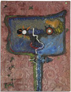 Enrico Baj Patriota 1960 olio e collage cm 70 x 60